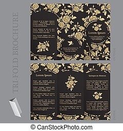 Tri-fold brochure template with roses in gold and black...