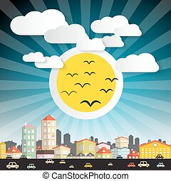 Abstract Vector City with Big Sun and Cars Street