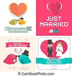 Just Married. Vector Wedding Cards Set. Paper Retro Flat Design Layout.