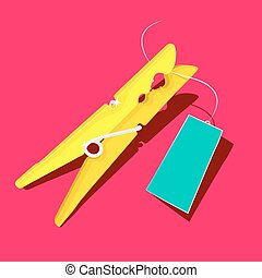 Gold or Yellow Peg with Empty Blue Label on Pink Background