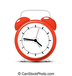 Red Alarm Clock. Vector Time Icon Isolated on White...