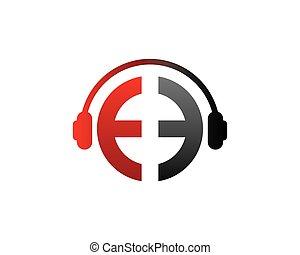 E Letter dj in headphone Logo Template