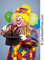 Magical Clown - Funny birthday clown does magic tricks with...