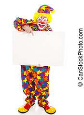 Clown Holding Blank Sign - Full Body - Full body isolated...