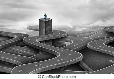 Concept Of Lost - Concept of lost as a solitary businessman...