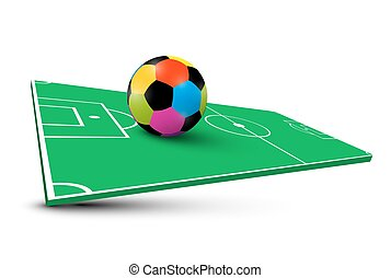 Colorful Soccer Ball on Abstract Empty Football Field. Vector 3D Illustration.