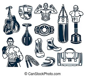 Set boxing icons isolated on white.