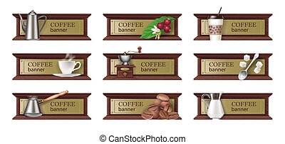 Set coffee banners, badges, stickers