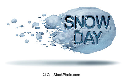 Snow Day - Snow day weather symbol as a flying snowball with...