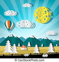 Paper Cut Landscape. Vector Nature Scene with Road, Cars, Hills and Hot Air Balloon.