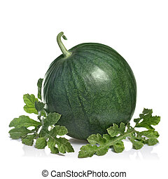 watermelon with leaves isolated on white