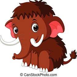 cute mammoth cartoon - illustration of cute mammoth cartoon