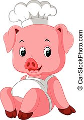 Cute Pig Chef - illustration of Cute Pig Chef