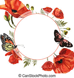 Wildflower poppy flower frame in a watercolor style isolated.