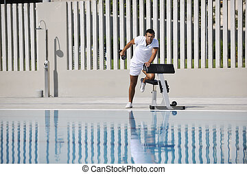 young healthy athlete man exercice - young healthy athlete...