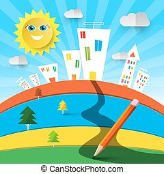 Funky Colorful Landscape Cartoon with Houses and Sun. Vector Abstract Nature Design.