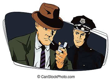 Man with cigarette and policeman. - Stock illustration....