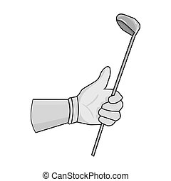 Holding of a golf club icon in monochrome style isolated on...