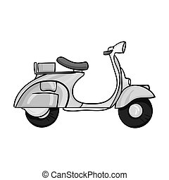 Italian scooter from Italy icon in monochrome style isolated...