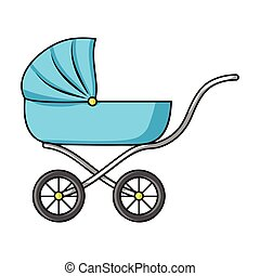 Pram icon in cartoon style isolated on white background....