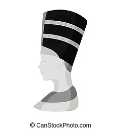 Bust of Nefertiti icon in monochrome style isolated on white background. Ancient Egypt symbol stock vector illustration.