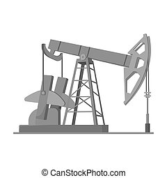 Oil pumpjack icon in monochrome style isolated on white...