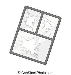 Broken window icon in monochrome style isolated on white...