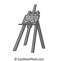 Easel with masterpiece icon in monochrome style isolated on...