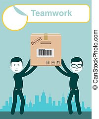 delivery service man with box vector. Teamwork.
