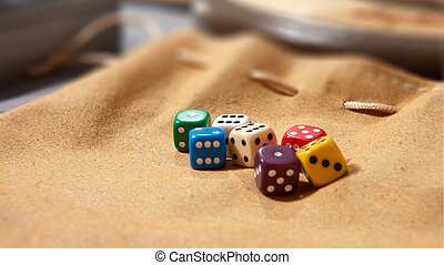 Colorful dices on background