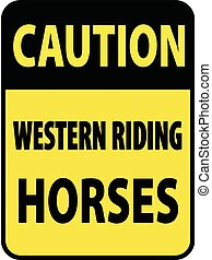 Vertical rectangular black and yellow warning sign of attention, prevention caution western riding horses. On Board Trailer Sticker Please Pass Carefully Adhesive. Safety Products.