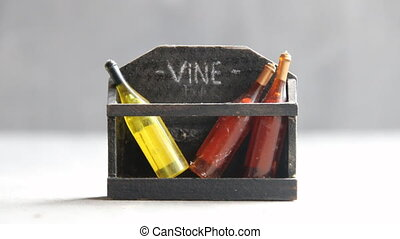 wine store idea, toy wine bottles and text - Bottles of wine...