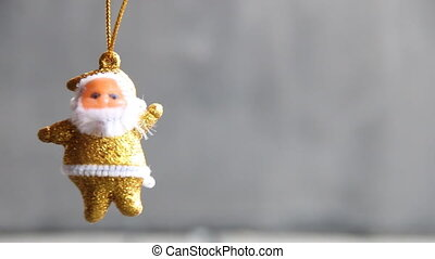 Golden Santa Claus, Christmas background with copy space -...