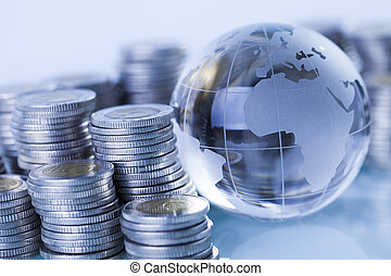 Money around world - Concept of money around the world on...