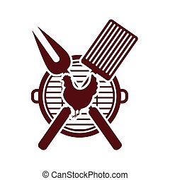 Isolated grill and chichen meat design - Grill and chicken...
