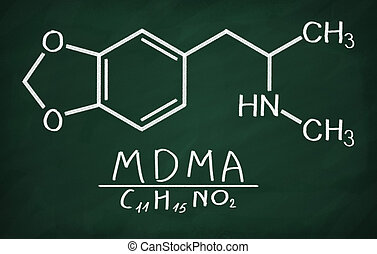 Structural model of MDMA (ecstasy) on the blackboard.