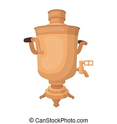 Samovar icon in cartoon style isolated on white background. Russian country symbol stock vector illustration.