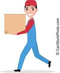 Vector cartoon delivery man with cardboard box - Vector...