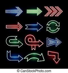 Retro neon direction arrow vector signs, icons