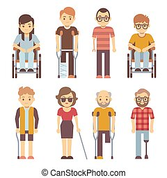 Disabled persons vector flat icons. Disabled in wheelchair,...