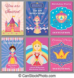 Child girl birthday, princess party vector invitations set