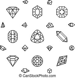 Geometric 3d crystal shapes, diamond, gems thin line vector...