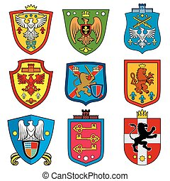 Family dynasty medieval royal coat of arms on shield vector...