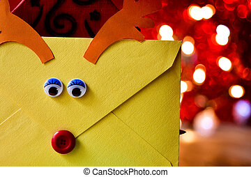 reindeer-shaped letter to santa - closeup of an envelope...