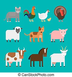 Farm animals icons set - Farm animals cute colorful icons on...