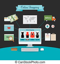 Online shopping infographic - Online shopping vector...