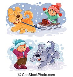 Set clip art illustration small children play with their...