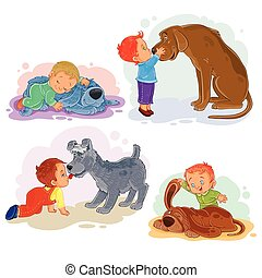 Clip art illustrations of little boys and their dogs -...