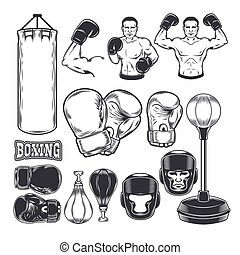 Set boxing icons isolated on white. - Set of vector boxing...
