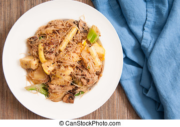 chicken pad see ew noodles with vegetables - pad see ew with...